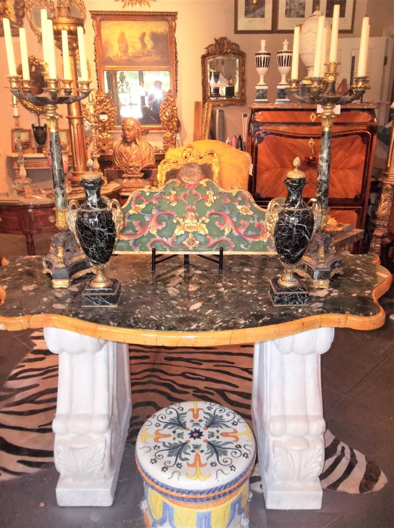 Tall Pair of Charles X Verdi Antico Marble and Gilt Bronze Candelabras For Sale 10