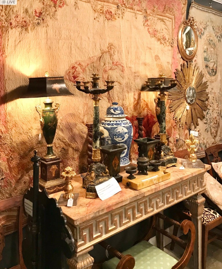 Tall Pair of Charles X Verdi Antico Marble and Gilt Bronze Candelabras For Sale 11