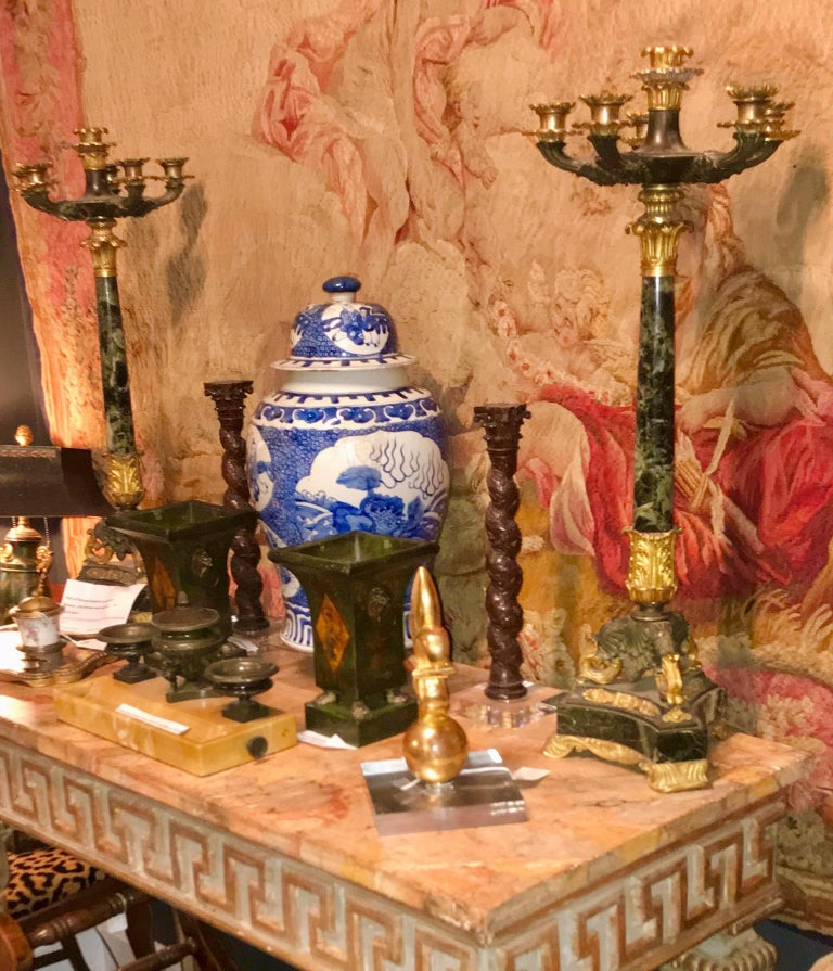 French Tall Pair of Charles X Verdi Antico Marble and Gilt Bronze Candelabras For Sale