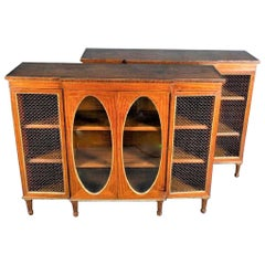 Tall Pair of Edwardian Satinwood Style Bookcase Consoles