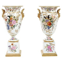 Tall Pair / English Porcelain Decorative Pieces / Vases