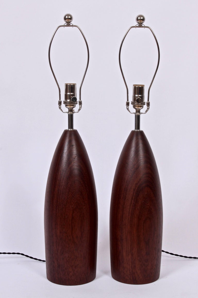 Tall Pair of ESA Danish Modern Turned Solid Dark Teak Table Lamps, circa 1960 In Good Condition For Sale In Bainbridge, NY