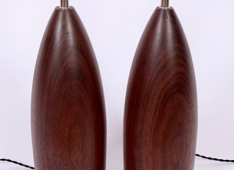 20th Century Tall Pair of ESA Danish Modern Turned Solid Dark Teak Table Lamps, circa 1960 For Sale