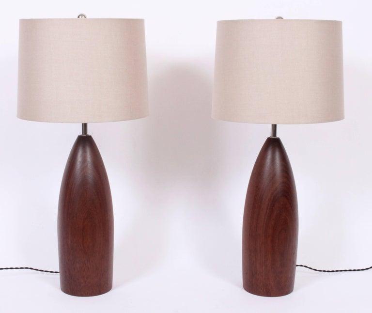 Tall Pair of ESA Danish Modern Turned Solid Dark Teak Table Lamps, circa 1960 For Sale 4