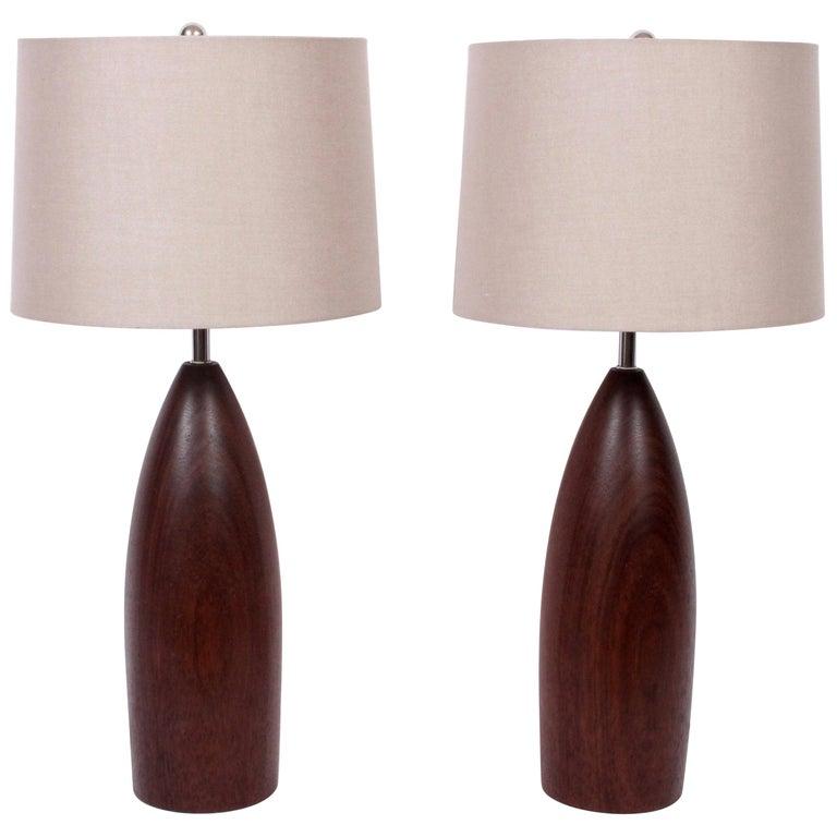 Tall Pair of ESA Danish Modern Turned Solid Dark Teak Table Lamps, circa 1960 For Sale