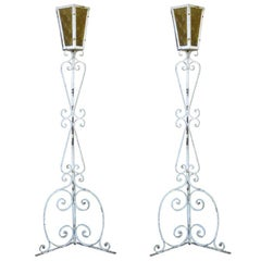 Tall Pair Of French 1950s Wrought Iron Floor Lamps