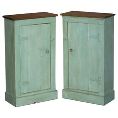 Tall Pair of Hand Painted Pine Side Lamp Table Display Cupboards Original Patina