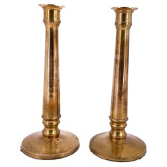Tall Pair of Hollywood Regency Solid Brass Candle Holders by Ralph Lauren