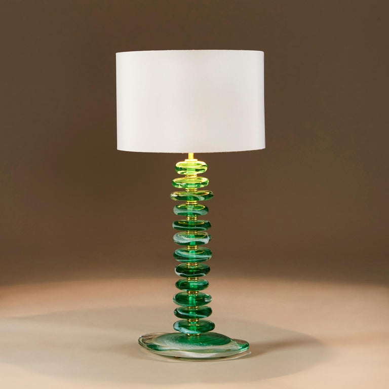 Tall Pair of Italian Murano Green Glass 'Pebble' Lamps In New Condition For Sale In London, GB