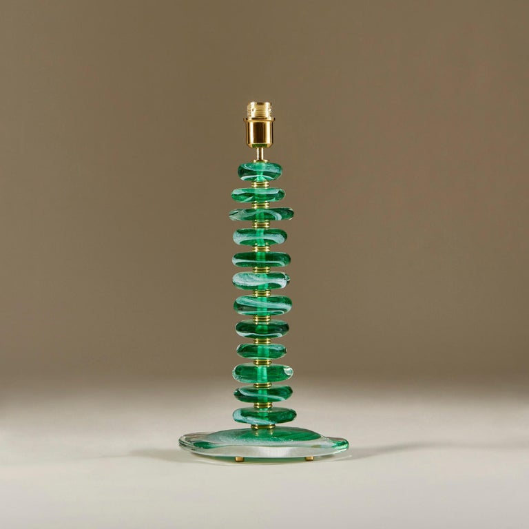 Contemporary Tall Pair of Italian Murano Green Glass 'Pebble' Lamps For Sale