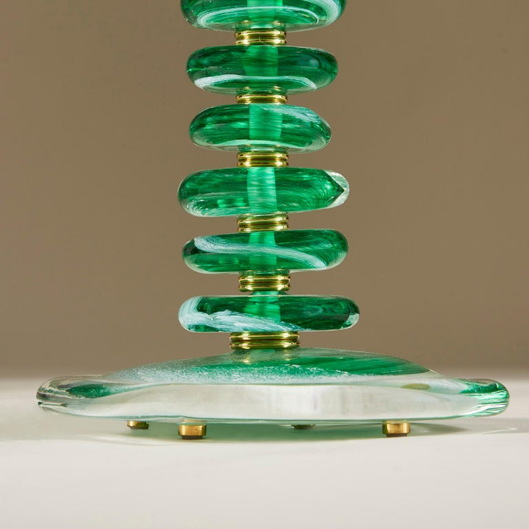 Tall Pair of Italian Murano Green Glass 'Pebble' Lamps For Sale 1