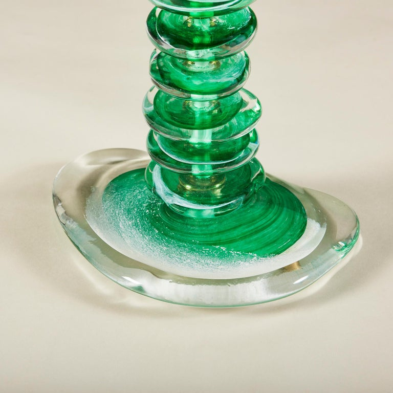 Tall Pair of Italian Murano Green Glass 'Pebble' Lamps For Sale 2