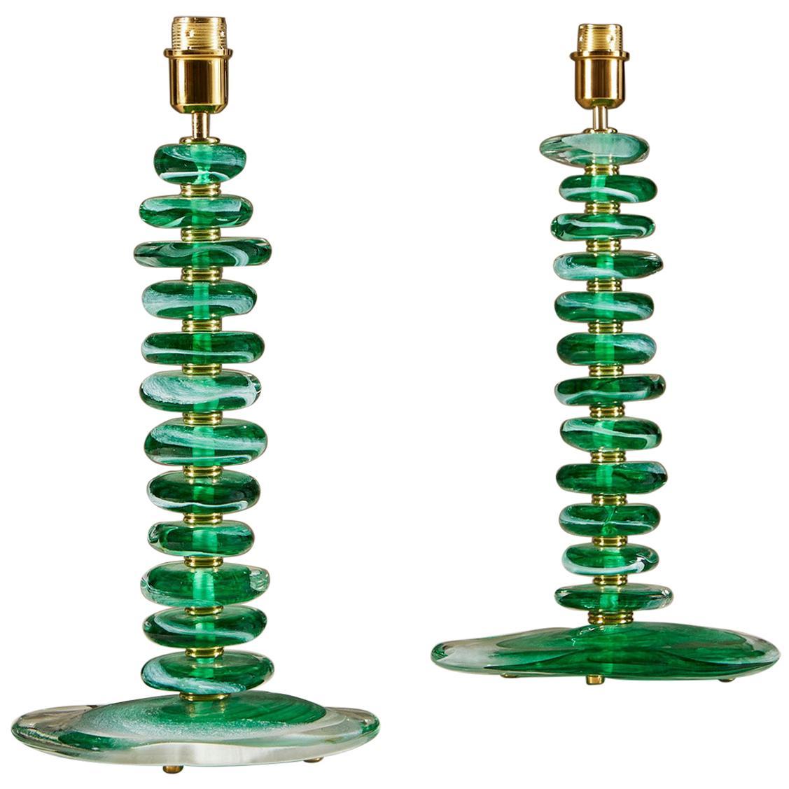 Tall Pair of Italian Murano Green Glass 'Pebble' Lamps