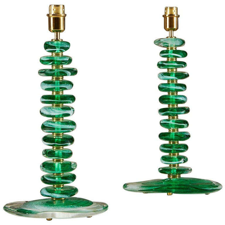 Tall Pair of Italian Murano Green Glass 'Pebble' Lamps For Sale
