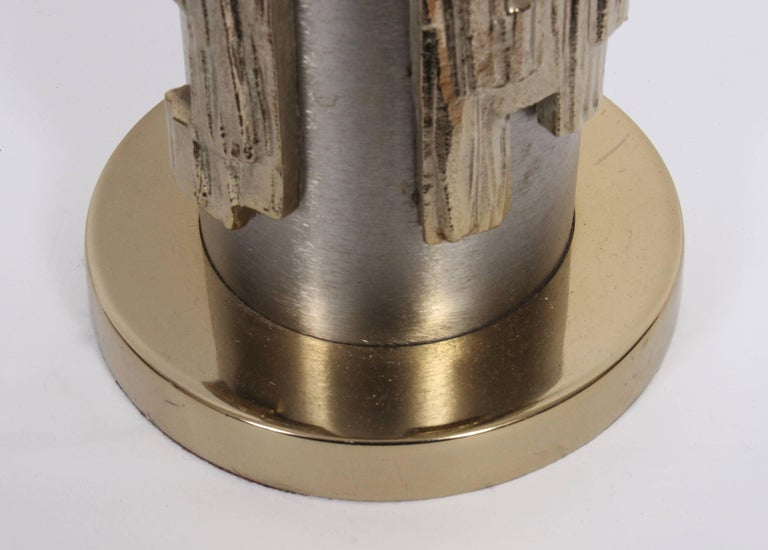 Tall Pair of Laurel Lamp Co. Brushed Steel & Brass Relief Brutalist Table Lamps For Sale 3