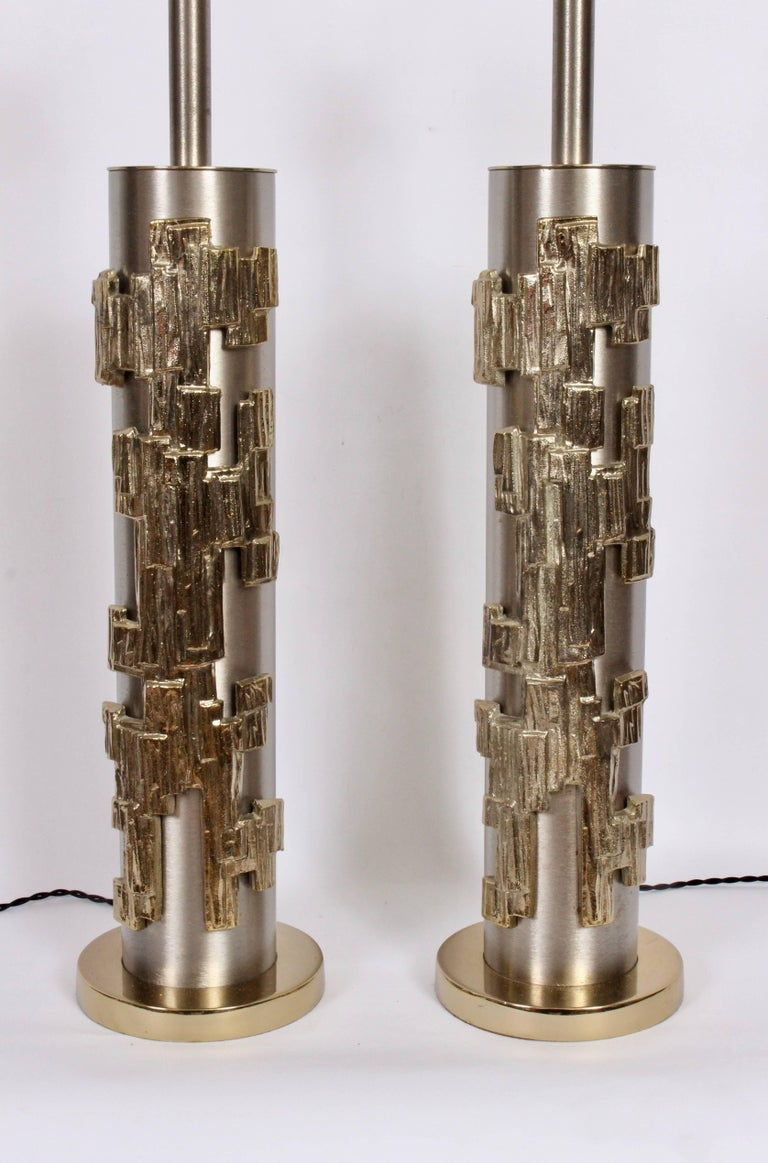 Tall Pair of Laurel Lamp Co. Brushed Steel & Brass Relief Brutalist Table Lamps For Sale 4