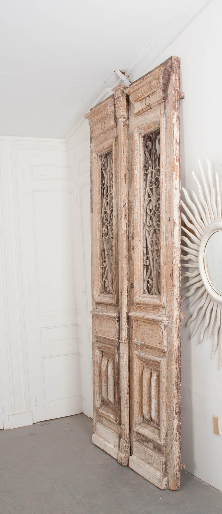 20th Century Tall Pair of Napoleon III-Style Painted Pine and Wrought-Iron Entrance Doors For Sale