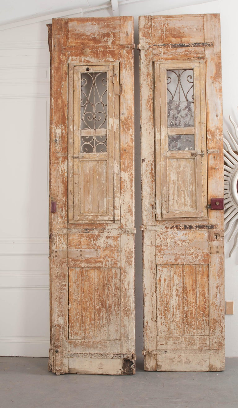 Wrought Iron Tall Pair of Napoleon III-Style Painted Pine and Wrought-Iron Entrance Doors For Sale