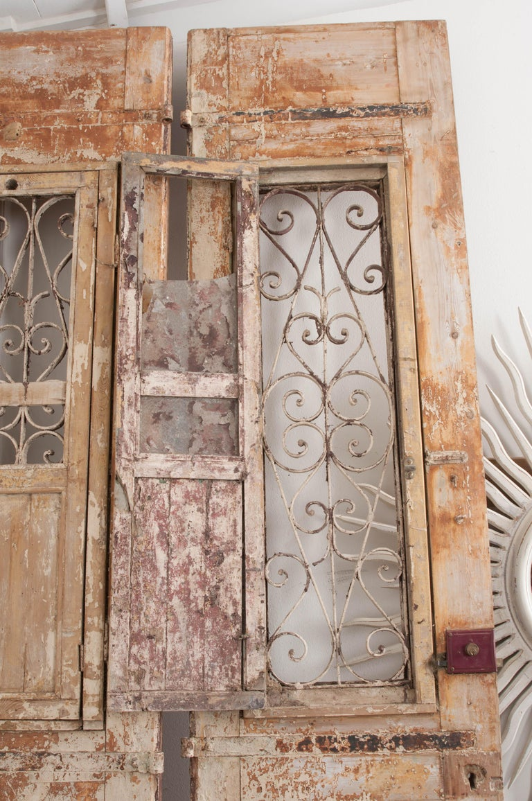 Tall Pair of Napoleon III-Style Painted Pine and Wrought-Iron Entrance Doors For Sale 1