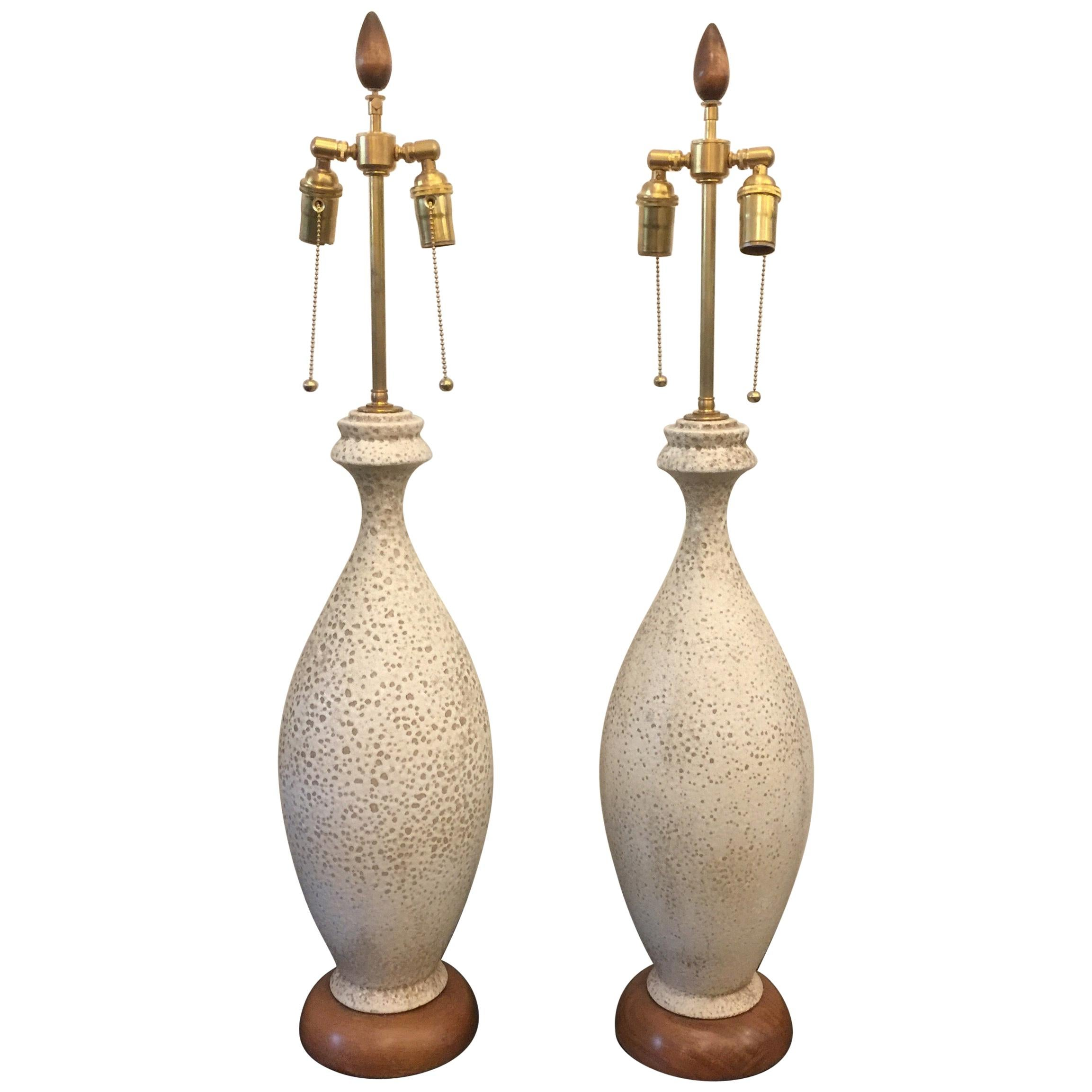 Tall Pair of Natural Lava Glaze Midcentury Lamps