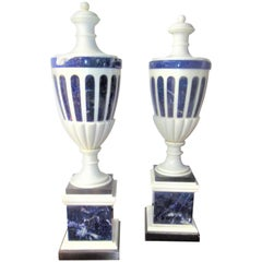 Tall Pair of Neoclassical Styled Lapis Inlaid Urn Garniture Candlesticks