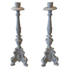 Tall Pair of Tin Glazed Faience Italian Candlesticks