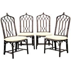 Tall Peak Top Bamboo Rattan Chairs by McGuire