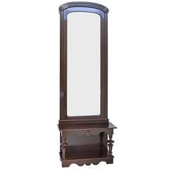 Tall Pier Mirror with Console in Dark Mahogany, circa 1910