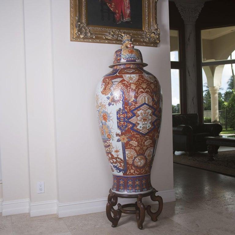 Women's or Men's Tall Porcelain Imari Style Vase For Sale