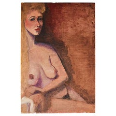 Tall Portrait Painting of a Nude Blonde Woman in Orange and Brown
