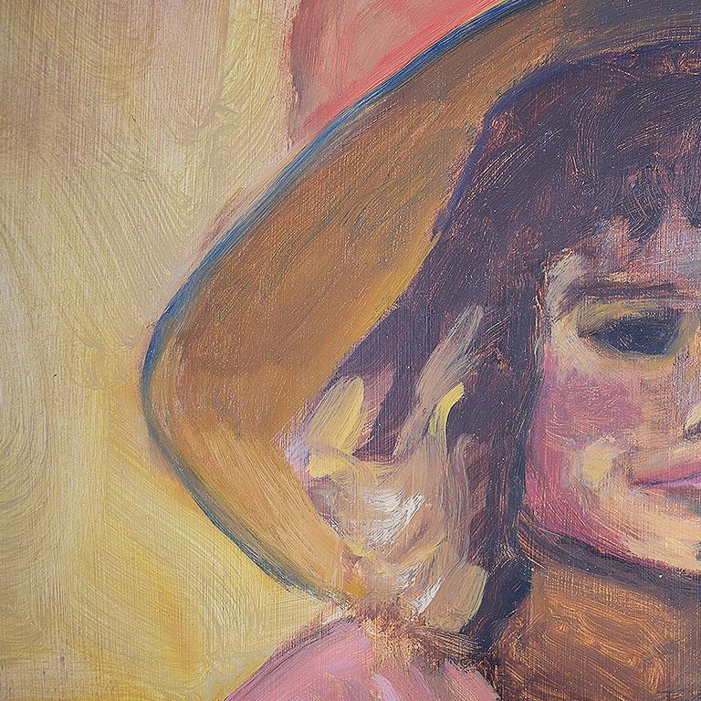 American Tall Portrait Painting of a Woman in a Hat at Sunset, Clair Seglem For Sale