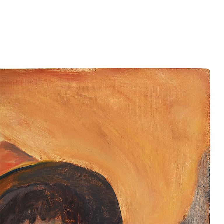 Late 20th Century Tall Portrait Painting of a Woman in a Hat at Sunset, Clair Seglem For Sale