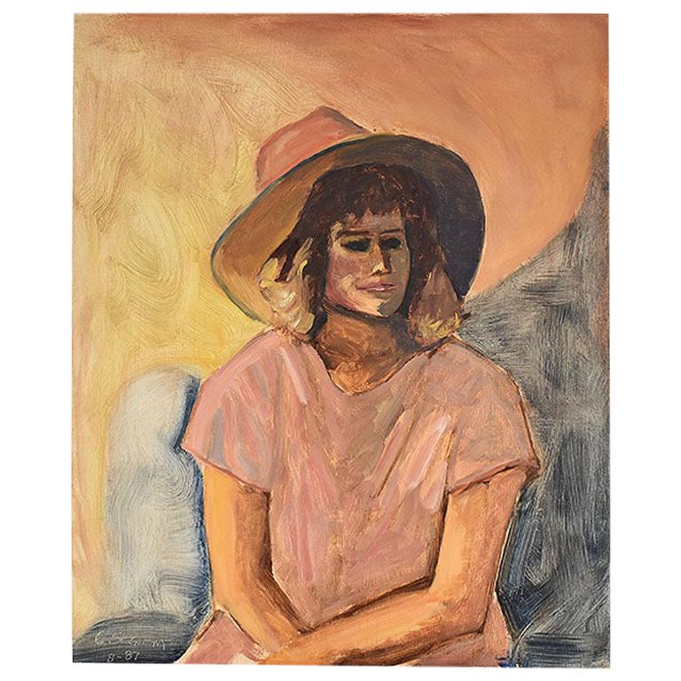 Tall Portrait Painting of a Woman in a Hat at Sunset, Clair Seglem For Sale