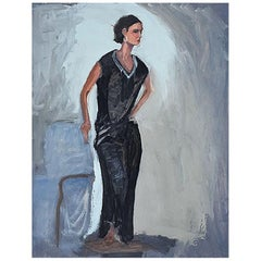 Tall Portrait Painting of a Woman in Black, Clair Seglem