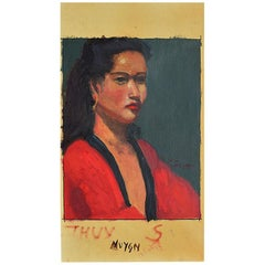 Tall Portrait Painting of an Asian Woman in Red by Clair Seglem, Signed