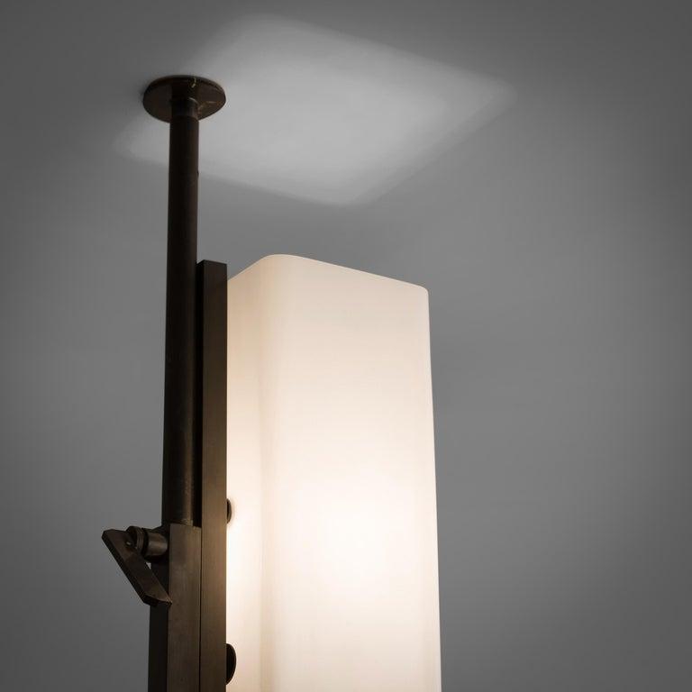 Metal Tall Postmodern Italian Glass Floor Lamp For Sale