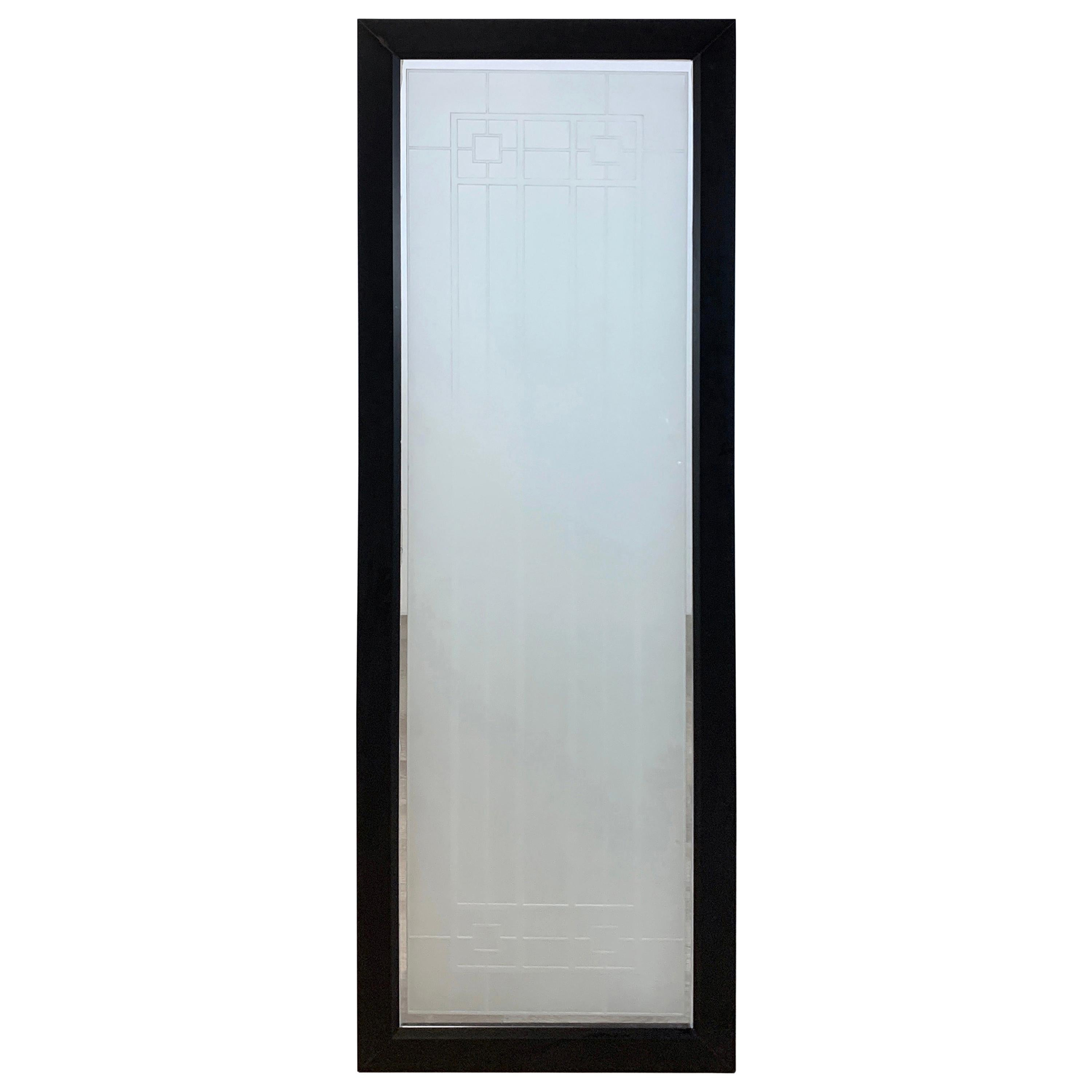 Tall Prairie Style Frosted Glass Window, Frank Lloyd Wright Style, 4 Available