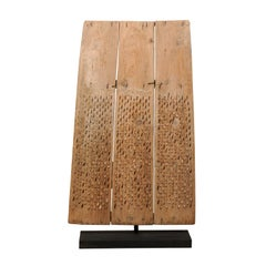 Tall Primitive-Style Turkish Carved Wood Threshing Board, Early 20th C.