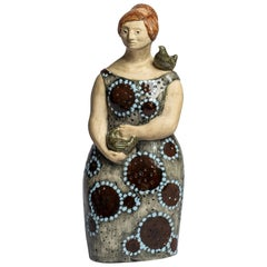 Tall Rare Ceramic Figure by Olle Alberius for Rörstrand