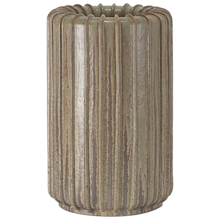 Arne Bang tall ribbed stoneware vase, ca. 1950, offered by Hostler Burrows