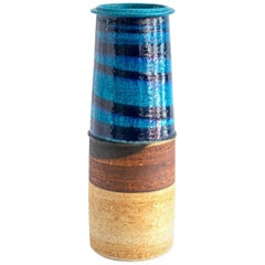 Tall Rorstrand Studio Vase by Inger Persson Partial Glaze in Blues