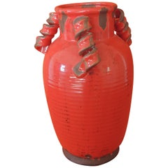 Tall Round Asian Glazed Red Vase/Urn with Twisted Handles