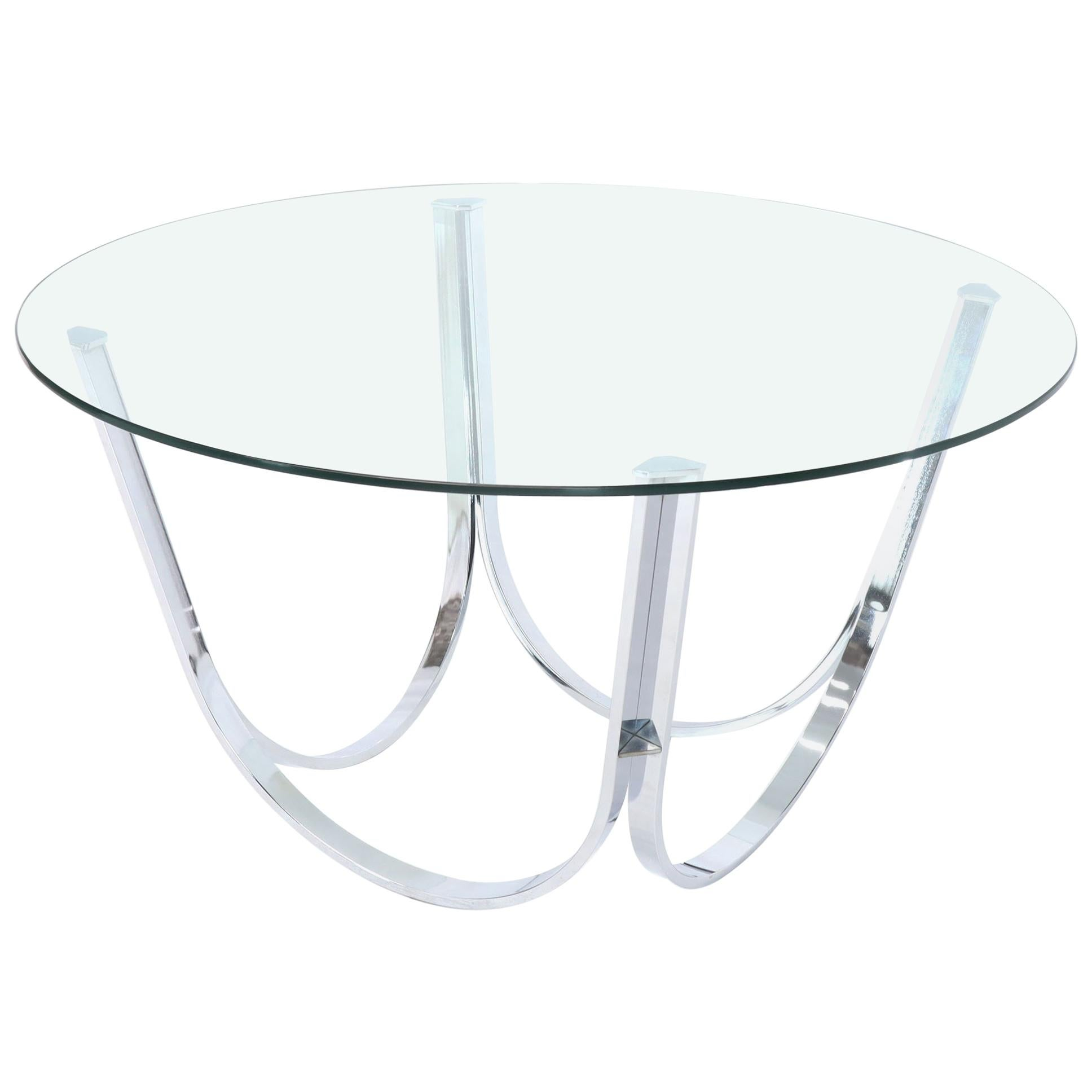 Tall Round Center Coffee Table Chrome and Glass
