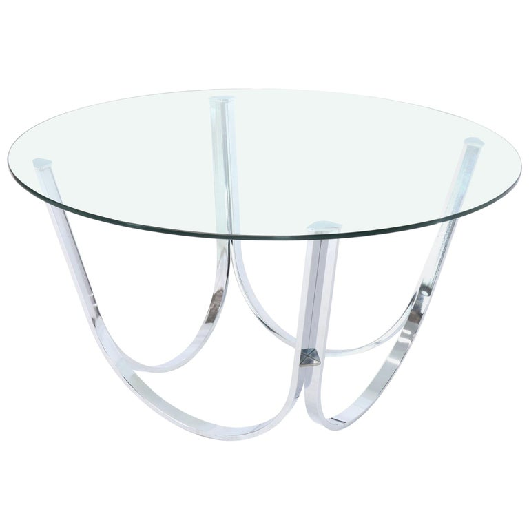 Tall round center coffee table chrome and glass for sale - How tall is a coffee table ...