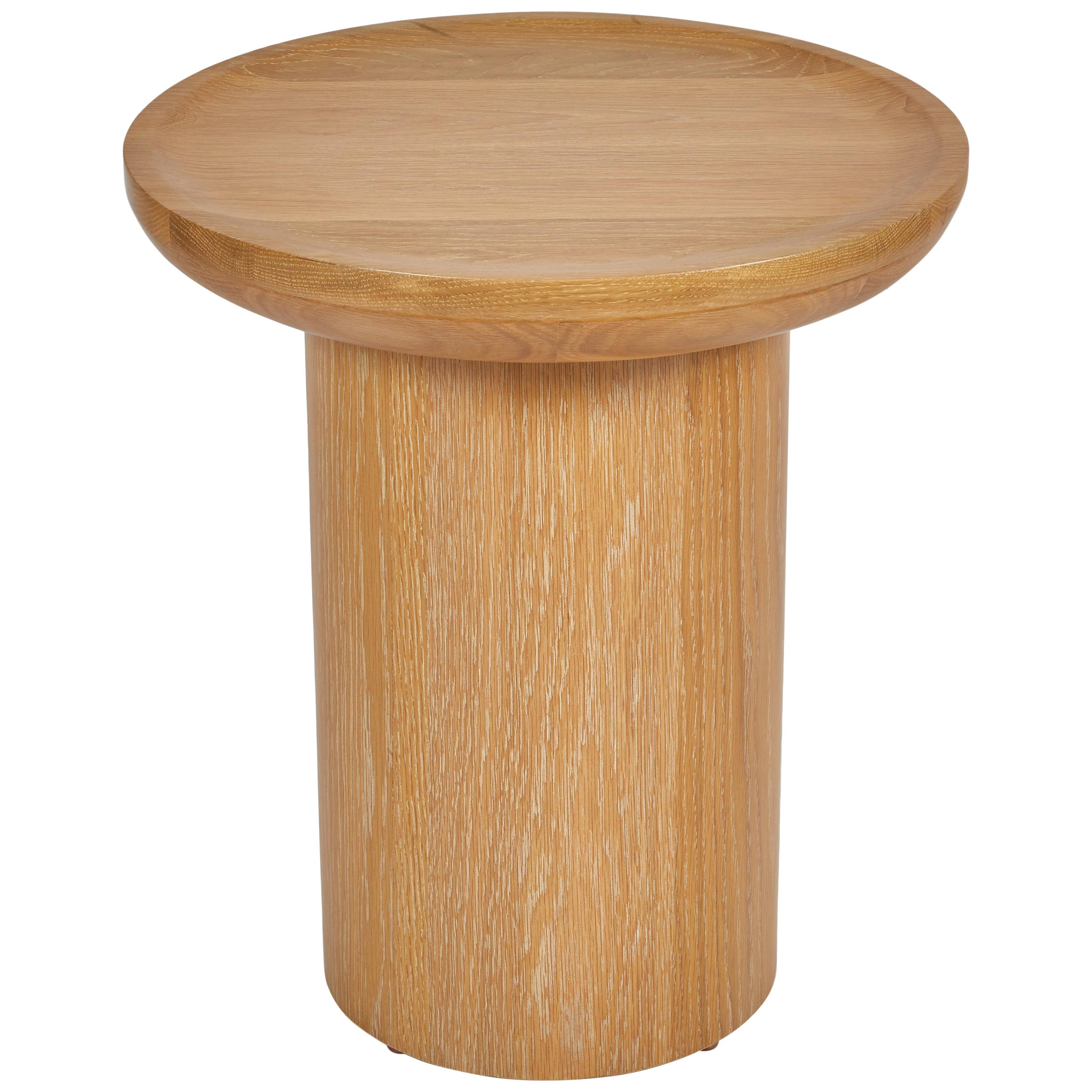 Tall Round Side Table,  Pedestal Base, Cerused Oak by Martin and Brockett, Brown