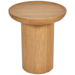 Tall Round Side Table with Pedestal Base in Cursed Oak by Martin and Brockett