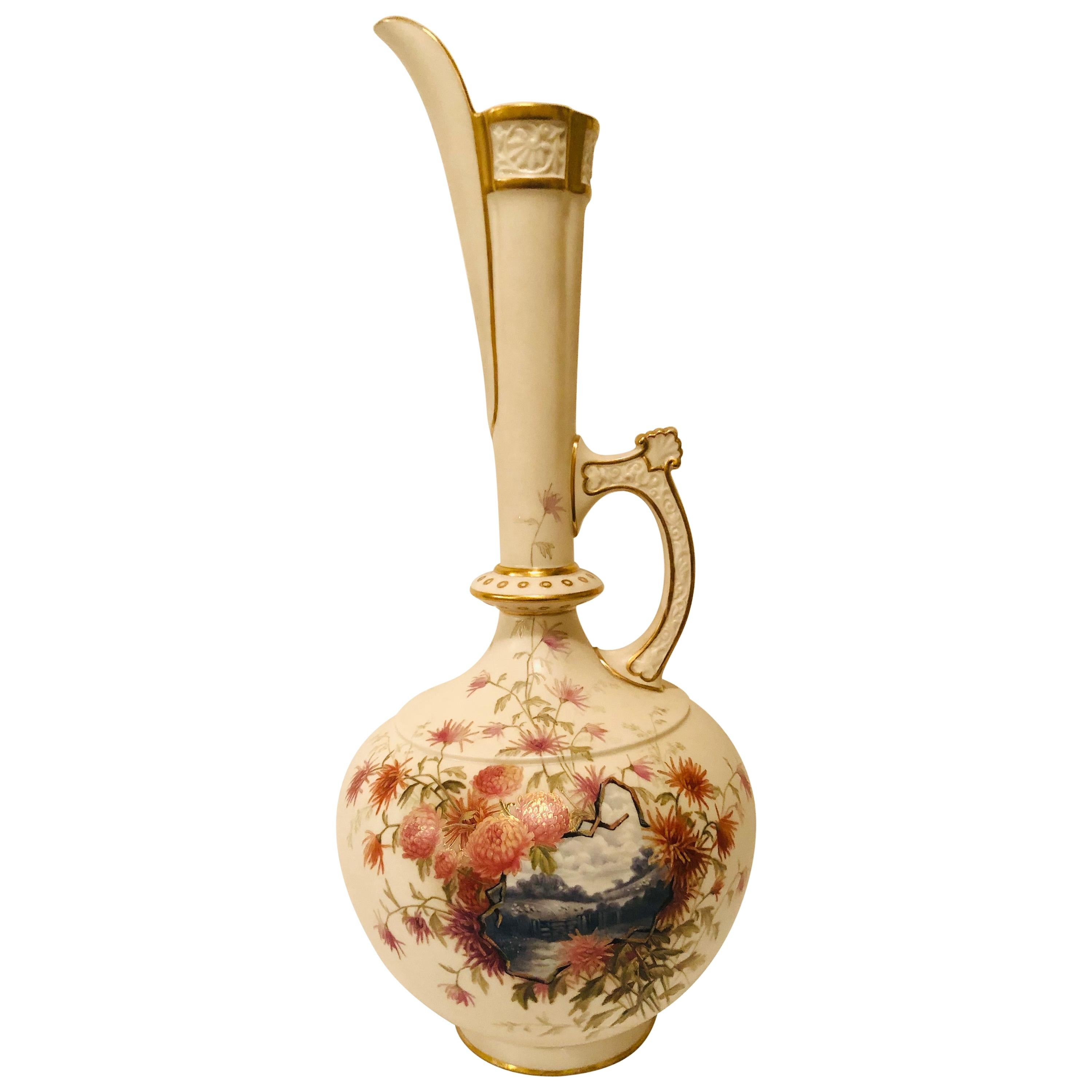 Tall Royal Worcester Ewer Painted with a Pastoral Scene Surrounded by Flowers