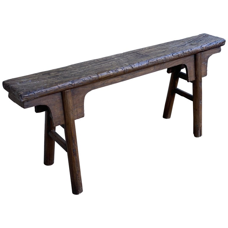 Tall Rustic Chinese Wood Bench For Sale At 1stdibs