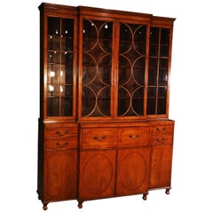 Satinwood English Regency Style Baker Breakfront Bookcase with Desk