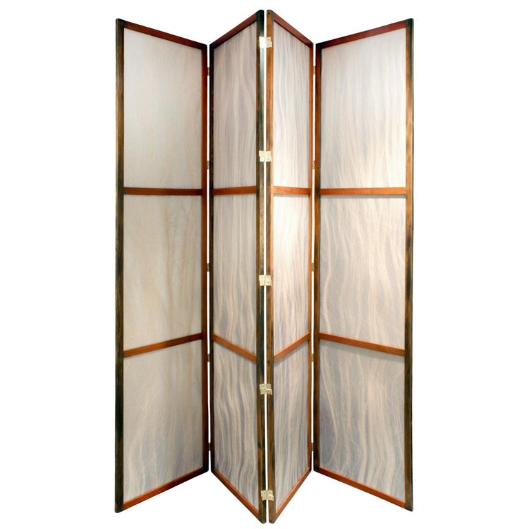 Screen with frame in walnut and inset horse hair panels, custom designed for a home in Kings Point Long Island, American, 1960s. This screen is unique and beautiful.